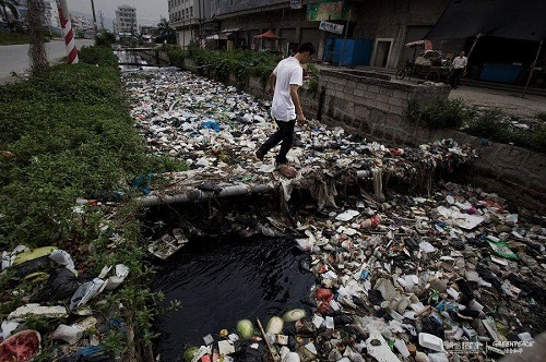 The channel is full of sewage and garbage