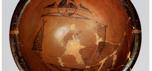 Basin Painted with Human Head and Fish Design