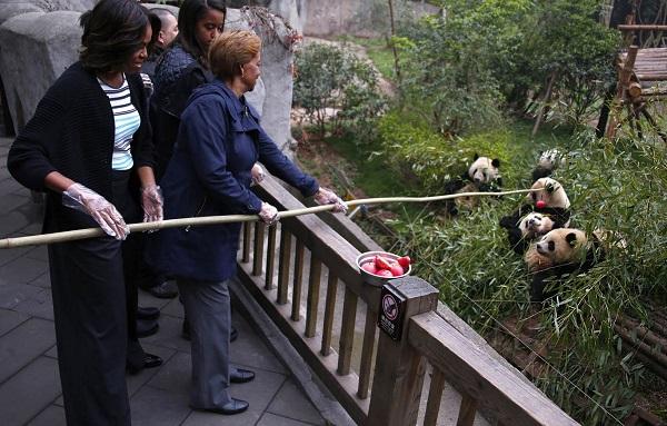 first lady Michelle visit Chengdu giant panda base